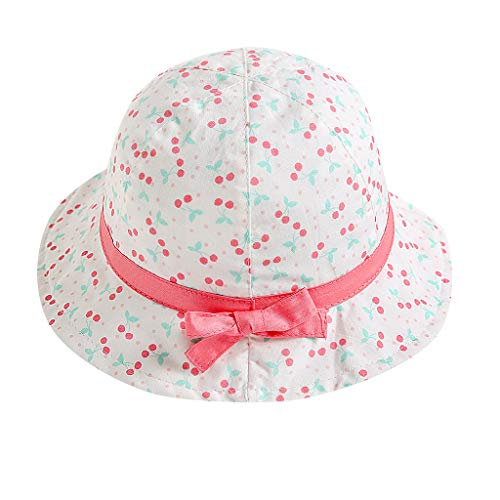 (Botrong Kids Baby Girl Fruit Print Bowknot Beach Cap Princess Sun Protection Hats for 3 Months-5 Years Pink)