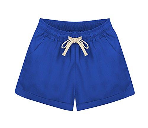 Coulisse Pantaloni Shorts Taglie Larghi Solido Casuali Donna Pantaloncini Elegante Corta Ragazza Blu Abbigliamento Forti Moda Woman Estivi RWwORYqX