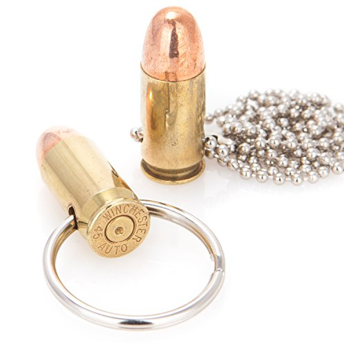 (Genuine Once-Fired 45 Caliber Bullet Keychain and Necklace Combo Pack)