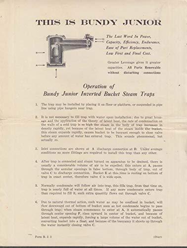 Bundy Junior Inverted Bucket Steam Trap Instruction sheet ca 1910 Nashua NH ()