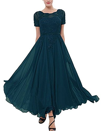 Meaningful Women's Lace Chiffon Mother of The Bride Dress Short Sleeves Tea Length Prom Dress Teal Size 24plus