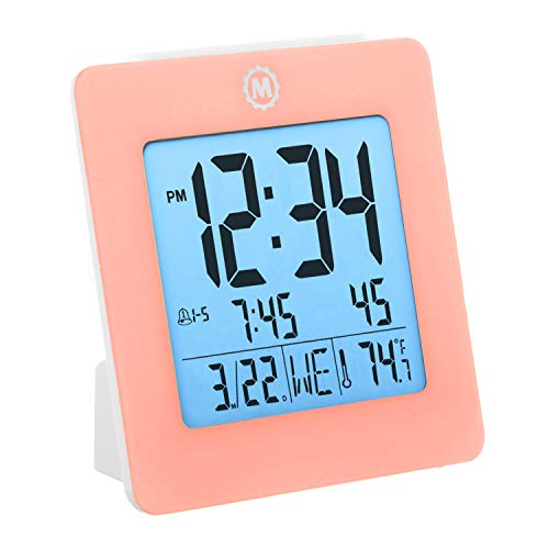 - Marathon Desktop Alarm Clock with Date and Temperature. Easy to Use. Features Backlight, 2 Alarms and Repeating Snooze. 7 Language Choices. Batteries Included. Color - Pink. SKU - CL030050PI