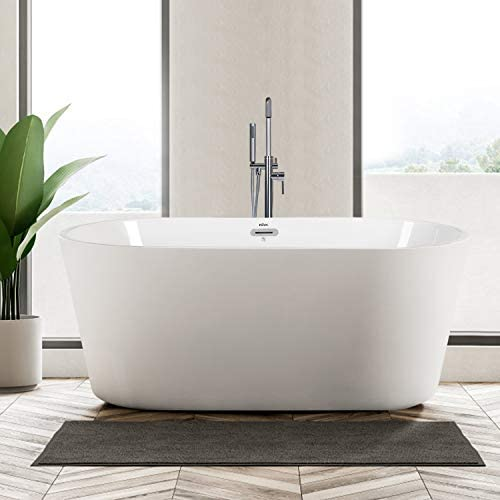 FerdY 55 Freestanding Bathtub Small Classic Oval Shape Acrylic Soaking Bathtub, Modern White, cUPC Certified, Drain Overflow Assembly Included