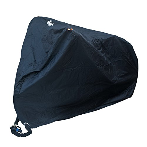 BTR strapazierfähige Fahrradgarage, Schutzbezug oder Abdeckplane, wasserfest, geeignet für Fahrräder und Scooter. Hochqualitatives Polyester Oxford Material, schwarz, 21D Oxford Material (EXTRA GROSS). Zur Unterbringung von bis zu 2 Fahrrädern