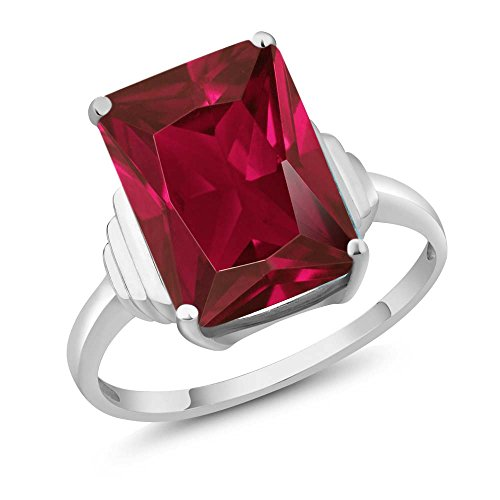 925 Sterling Silver Red Created Ruby Women's Ring 8.00 Ct Emerald Cut (Size ()