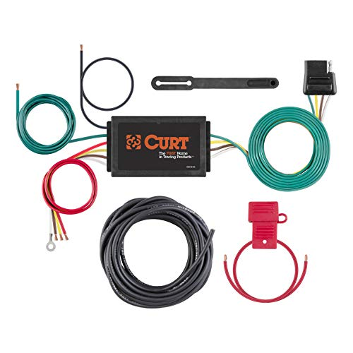 (CURT 59146 Powered 3-to-2-Wire Splice-in Trailer Tail Light Converter Kit with 4-Pin Wiring Harness)