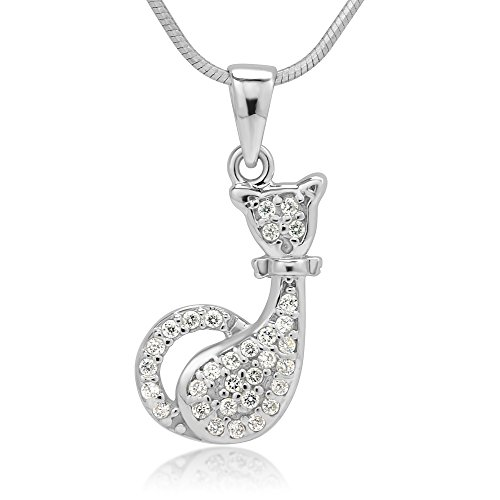 Chuvora Rhodium Plated 925 Sterling Silver CZ Cubic Zirconia Cat Kitty Kitten Pendant Necklace, 18 inches