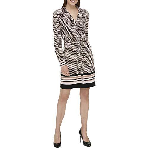 Tommy Hilfiger Women's Jersey Shirt Dress, Powder/Ivory/Cappuccino, 12