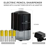 Electric Pencil Sharpener, Heavy Duty Auto-Stop, Ultra-Portable, Helical Steel Blade Sharpener No.2/Colored Pencils (6-8mm) For School, Home and Office, Battery Powered or AC Adapter (Included)