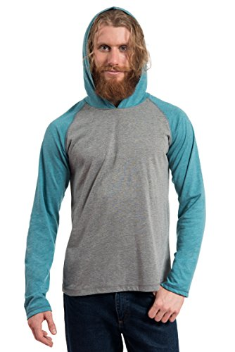 MTL-607 Heather LS CB RAGLAN PULLOVER HOOD 60/40-GREY/TEAL-SM