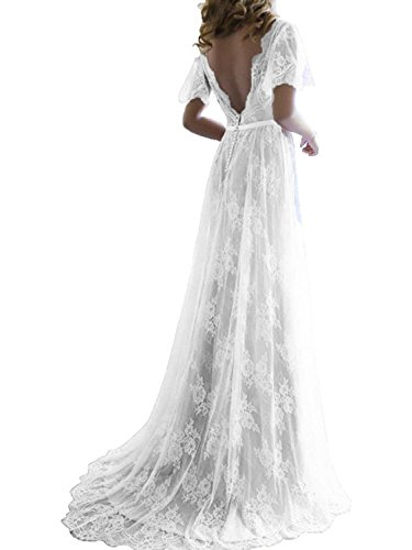 LUBridal Women's Romantic White Lace Long Wedding Dresses Sexy V Neck Back Bride Formal Gowns White US8 ()