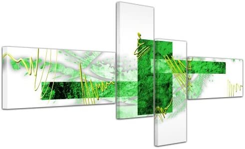 Cuadros en Lienzo - Arte abstracto Abstracto V verde - 140x65cm 4 ...