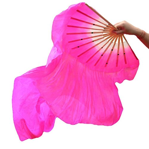 Eforstore 1.5M Dance Fan Veil Hand Made Belly Dancing Silk Bamboo Long Fans Veils Folk Art Chinese Yangko Party Stage Performance Foldable Fan Hot Pink