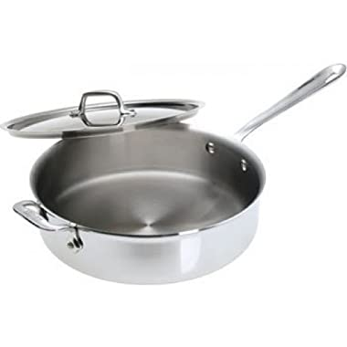 All-Clad 4405 Stainless Steel Tri-ply Saute Pan with Lid Cookware, 5-Quart, Silver - 8701004444