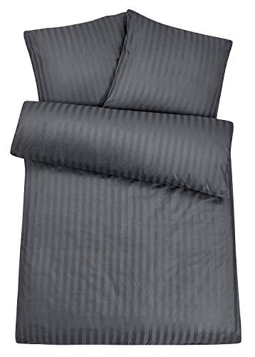 Luxus Damast Hotel-Bettwäsche aus 100% feinster Baumwolle mit Reißverschluss. Der hochwertige & edle Bett-Bezug für das ganze Jahr mit exklusivem Schimmer für besten Schlafkomfort - 135x200 cm, Grau