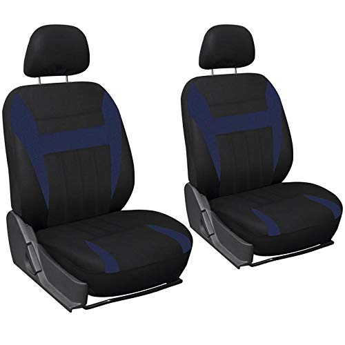 Motorup America 6pc Set Auto Seat Cover - Fits Select Vehicles Car Truck Van SUV, Blue & Black