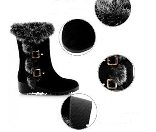 Las mujeres conejo elegante collar botas lana gruesa nieve caliente botas hebilla pendiente con botas casual black
