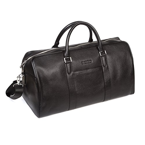 15b7357e474 BAIGIO Men s Genuine Leather Weekend Travel Duffel Overnight Bag Gym Bags  (Black) - Buy Online in Oman.   baigio Products in Oman - See Prices, ...