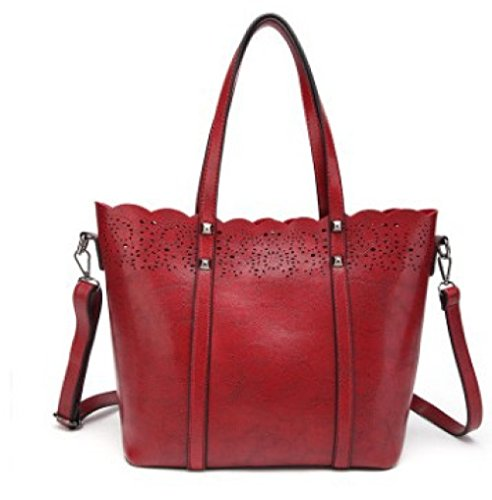 Oil Wax Bag Lady Shoulder Bags European And American Fashion Handbags Messenger Bags Burgundy