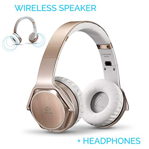 Bluetooth Headphones Over-Ear 2 in 1 Cordless Foldable Twist-Out Speaker Wireless Stereo Bass Headphone with NFC FM Radio/AUX/TF Card Slot Sports Retractable Headband Headset (Gold)
