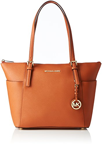 MICHAEL Michael Kors Womens Jet Set Leather Shopper Tote Handbag Orange Large ()