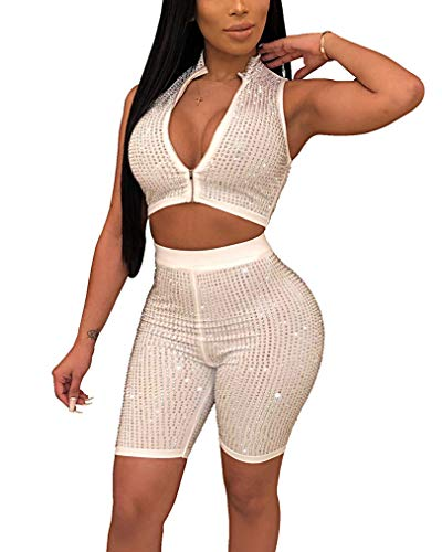 Women Sparkly Sequin V Neck Zipper 2 Piece Outfits Sexy Rhinestone Sleeveless Crop Top + Bodycon Knee Length Shorts Sets, White, M