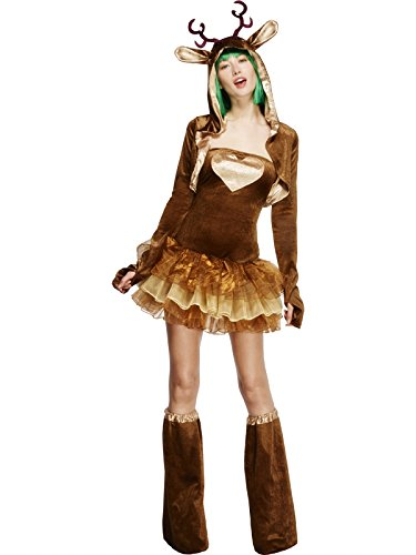 Smiffy's Adult Women's Fever Reindeer Costume, Tutu Dress With Detachable Clear