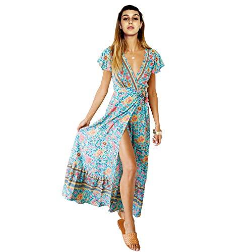 Women's Bohemian Floral Printed Wrap V Neck Short Sleeve Split Beach Party Maxi Dress (Green, Large-US - Wrap Printed
