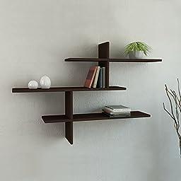Leo 3-Shelf Floating Wall Shelf Wenge h:32″ w:46″ d:8.6″