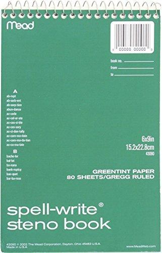 4 SPIRALS: MEAD 43080 - Mead Spell-Write Steno Book