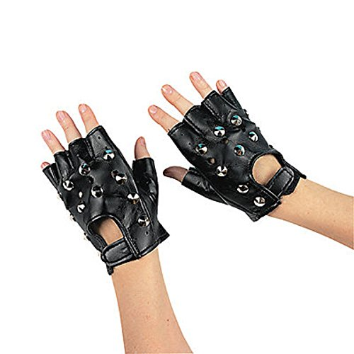 Polyester Rock Star Studded Fingerless Gloves (1 pair),  One Size