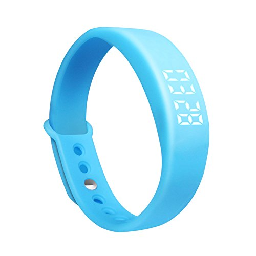 mart Bracelet Health Management Wearable Device Sports Pedometer Smart Bracelet Fitness Band Watch, Tracker Sleep Time/Date/Temperature Display, 3D Pedometer, Silent Alarm (Blue) ()