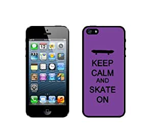 Keep Calm And Skate On - Purple - Protective Designer WHITE Case - Fits Apple iPhone 5 / 5S