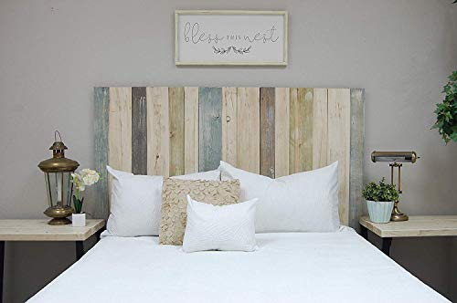 Farmhouse Mix Headboard Full Size, Hanger Style, Handcrafted. Mounts on Wall. Easy Installation