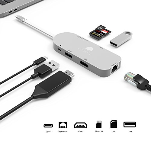 Usb C Hub To Hdmi 4K 30Hz Gigabit Lan Ethernet Conmdex 3 1 Usb Type C Adapter Dongle For 2016 2017 Macbook Pro 7In1 Combo Pass Through Charging  Sd Micro Card Reader And 2 Usb 3 0 Ports  Silver