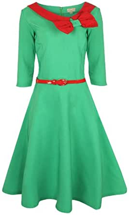 Lindy Bop 'Cassy' Vintage 1950's Parisian Style Three Quarter Sleeve Collared Bow Dress (M, Green)