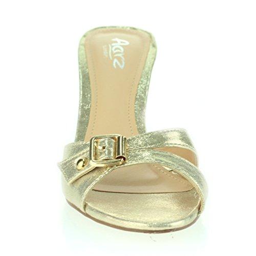 Mujeres Señoras Hebilla Embellecido Punta Abierta Delgado Tacón Medio Fiesta Casual Sandalias Zapatos Talla Oro
