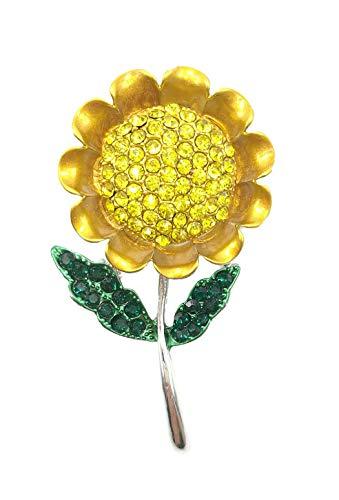 AZfasci Brooch Women Sunflower Austrian Crystal Rhinestone Enamel Birthday Corsage Pin (Silver) (Crystal Brooch Sunflower)