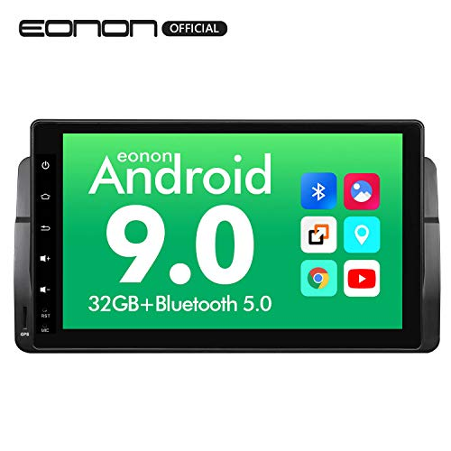 Android Auto Android 9.0 Car Navigation Stereo, Eonon 9 Inch HD Touchscreen Car Stereo Radio, Bluetooth 5.0 Applicable to BMW 3 Series 1999,2000,2001,2002,2003 and 2004(E46) Support Fastboot-GA9350B