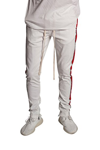 KDNK Men's Tapered Skinny Fit Stretch Drawstring Ankle Zip Striped Track Pants (S, White/RED)