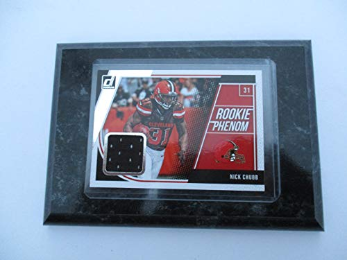 Players Phenom - NICK CHUBB CLEVELAND BROWNS 2018 NFL DONRUSS ROOKIE PHENOM PLAYER-WORN PLAYER CARD MOUNTED ON A 4