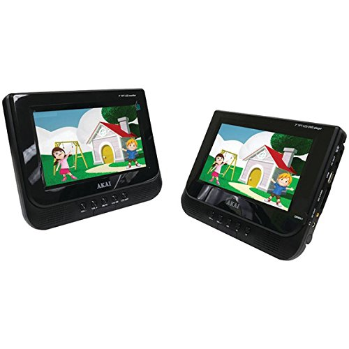 Akai AKPDVD702D 7-inch - Dual Screen Portable DVD Player (Black)