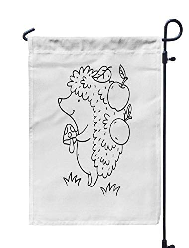 GROOTEY Welcome Outdoor Garden Flag Home Yard Decorative 12X18 Inches Cartoon Character Cute Hedgehog in The Coloring Page Double Sided Seasonal Garden Flags