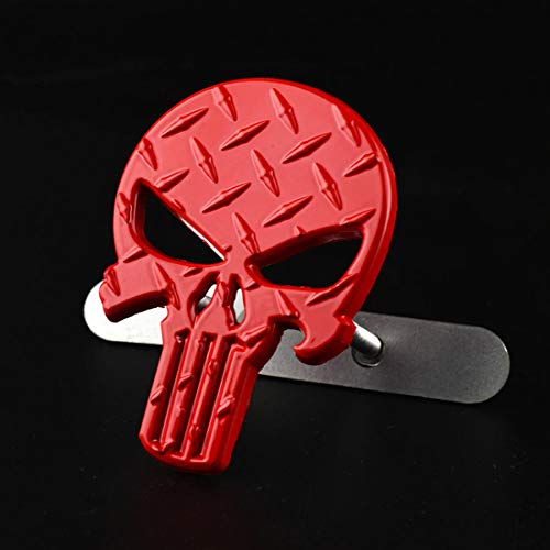 Car Head Decoration Black Punisher Skull Car Badge Emblem Diamond Plate for Auto Front Grille Coming of Age Ceremony Gift (red)