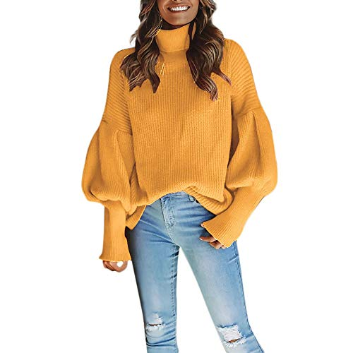 (Franterd Women Lantern Sleeve Knitted Turtleneck Sweater Solid Fashion Loose Baggy Pullover Top Blouse Sweatshirt)