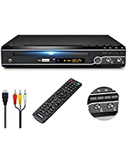 Gueray DVD Player HDMI for TV All Region Free DVD CD Recorded Disc Player with HDMI & AV Output HD 1080P Remote Control Supports Dual MIC & USB Built-in PAL/NTSC System Coaxial Port for TV Connect