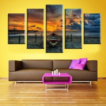Characterization Cascade Canvas Wall Pictures Decorative Painting - 5 Cascade Sea Sunset Canvas Wall Painting Picture Home Decoration Frame Including - Moving Word-Painting Show