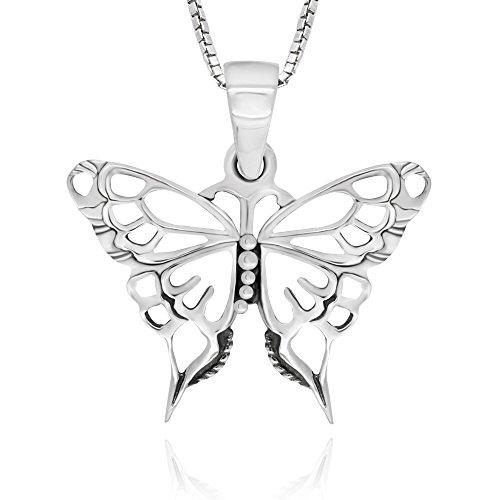 (925 Sterling Silver Celtic Butterfly Pendant Necklace, 18