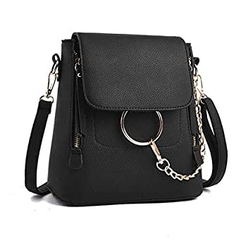 Backpack female fashion solid color female bag ring buckle small bag