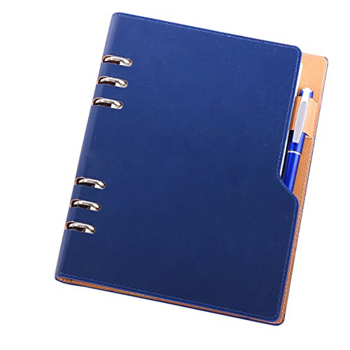 Trycooling PU Leather Loose Leaf Business Round Ring Binder Cover Notebooks 100 Sheets With a Pen Inserted (A5 6-Ring, Royal Blue)